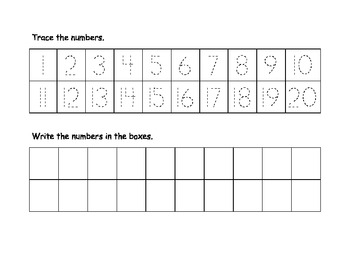 Numbers Trace and Write 1-20