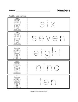 Numbers Trace the Words Gumball Machine B&W Worksheets Preschool/Kindergarten