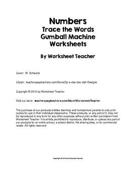 Numbers Trace the Words Gumball Machine Worksheets Preschool/Kindergarten