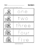 Numbers Trace the Words Thanksgiving Turkey B&W Worksheets