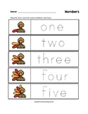 Numbers Trace the Words Thanksgiving Turkey Worksheets Pre