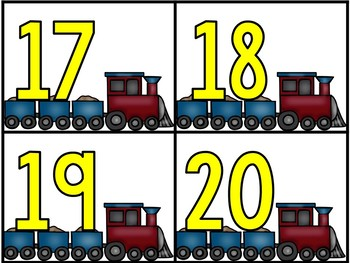 Numbers Train Centers - Number & Number Word Train Game Cards
