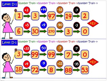 Basic Math Operations Skills: NUMBER TRAIN 16 Task Cards, Review, Test Prep