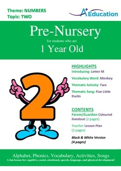 Numbers - Two : Letter M : Monkey - Pre-Nursery (1 year old)