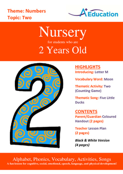Numbers - Two : Letter M : Moon - Nursery (2 years old)