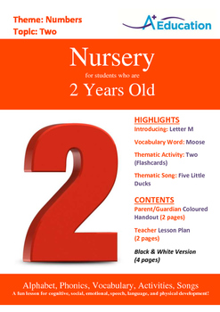 Numbers - Two : Letter M : Moose - Nursery (2 years old)