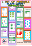 Numbers Up To 20 - 2 Set Of Colorful Printable Flash Cards