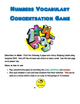 Numbers Vocabulary Concentration Game