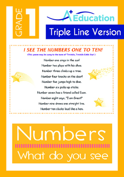 Numbers - What do you see? (I) - Grade 1 (with 'Triple-Track Writing Lines')