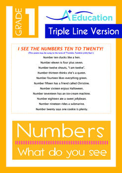 Numbers - What do you see? (II) - Grade 1 (with 'Triple-Track Writing Lines')