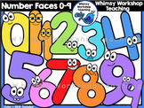 Numbers With Faces 0 to 9 Clip Art - Whimsy Workshop Teaching