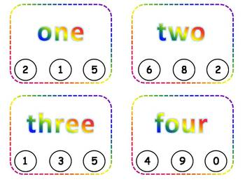 Number Words Clothespin Task Cards