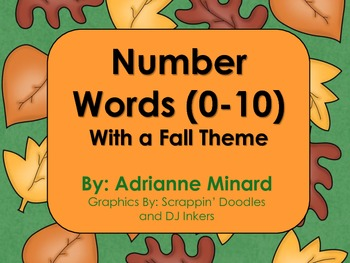 Number Words Math Unit with a Fall Theme (October) - K, First, Second, or Third