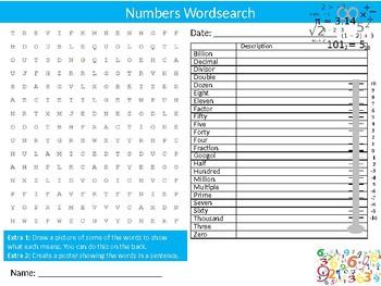 Numbers Wordsearch Sheet Math Mathematics Starter Activity Keywords