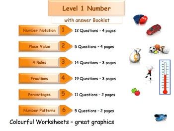 Numbers Workbook - Worksheet Booklet - Level 1- (with answers)