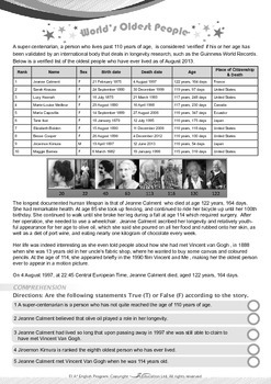 Numbers - World's Oldest People - Grade 7