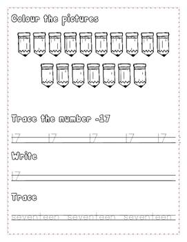 Numbers Writing Practice 16 - 20