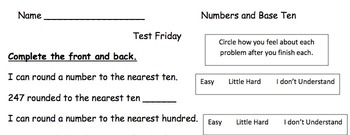 Numbers and Base 10 review sheet with Student Self Check