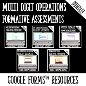 Numbers and Base Ten Operations DIGITAL TASK CARDS BUNDLE for Google Classroom