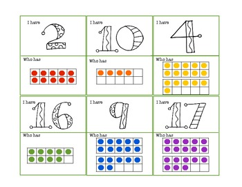 Numbers and Color Words I Have Who Has Games