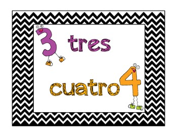 Numbers and Colors in Spanish Poster Set (Chevron Style) Combo Pack