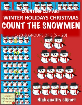 Numbers and Counting Clipart Snowman 1 - 20 and Groups of 5