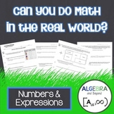 Numbers and Expressions - Real World Applications