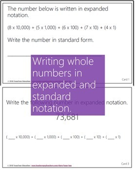 Numbers and Fractions Task Cards #2