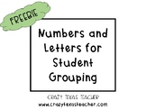 Numbers and Letters for Student Grouping