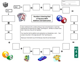 Numbers and Math Listening Activity - English