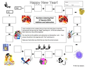 Numbers and Math Listening Activity - New Year's Theme - English