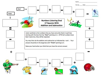Numbers and Math Listening Activity - Football Theme - English