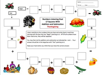 Numbers and Math Listening Activity - Thanksgiving Theme -