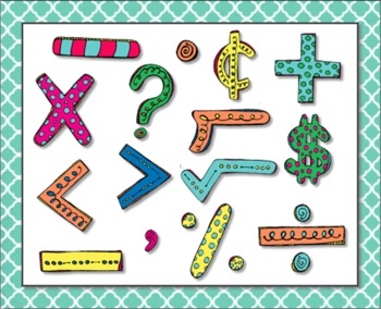 Clip Art: Numbers and Math Symbols Bright Colorful Hand Drawn
