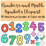 Numbers and Math Symbols Clipart I Hand Drawn Doodles