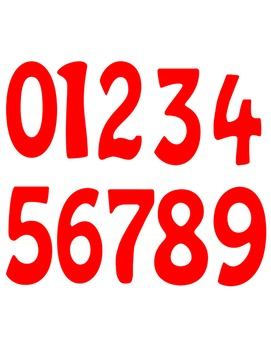 Math Numbers Clipart - Red