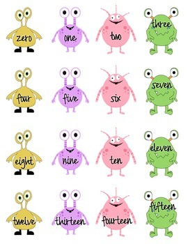 Numbers and Number Word Matching Game - Monster Style! - Math Center