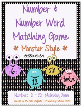 Numbers and Number Word Matching Game - Monster Style! - M
