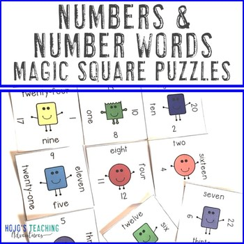 Numbers and Number Words Math Center Game | Numbers Matching Game 1-24