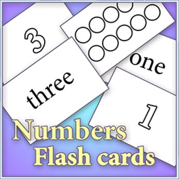"""Numbers and Numerals 0 - 10 - Cut and color """"Early Learner"""" flash cards"""