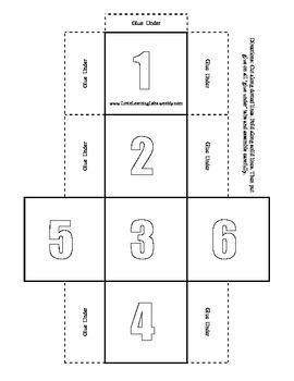 Numbers and Numerals Dice Set in color & black & white primary prek