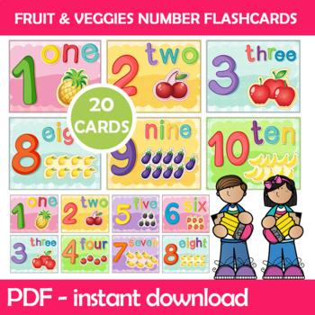 Numbers and Objects Flash Cards; Kindergarten; Preschool; Homeschool; Math