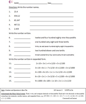 Numbers and Operations All Standards 5.NBT Fifth Grade Common Core Math Sheets