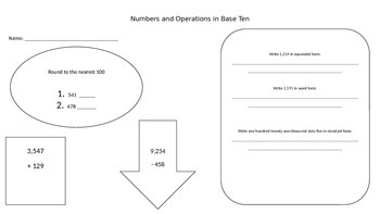 Numbers and Operations Assessment