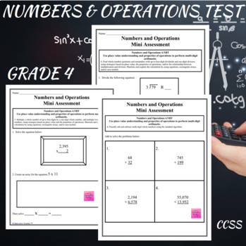 Numbers and Operations Assessments Grade 4 (4.NBT.4-6)
