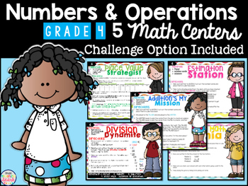 Numbers and Operations Differentiated Math Centers Grade 4
