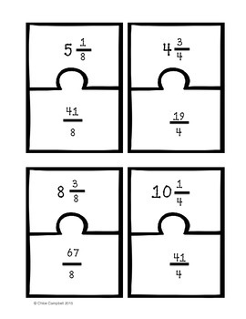 Numbers and Operations - Fractions BUNDLE! [Matching Puzzle Pieces]