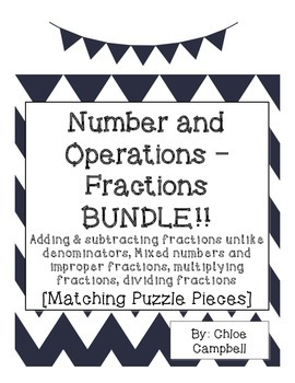 Numbers and Operations - Fractions BUNDLE! [Matching Puzzl