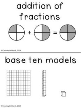 Numbers and Operations - Fractions CCSS: A Grade 4 Vocabulary Tool Kit