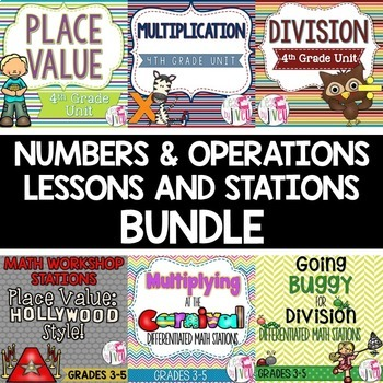 Numbers and Operations LESSONS and STATIONS Bundle